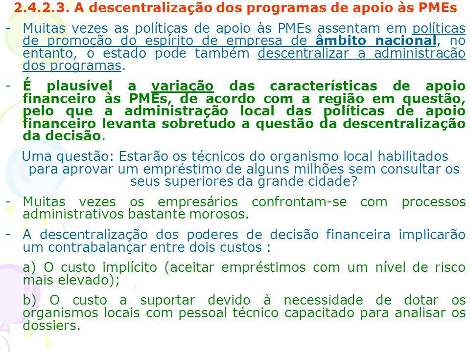 2.4.2.3. A descentralização dos programas de apoio às PMEs -Muitas vezes as políticas de apoio às PMEs assentam em políticas de promoção do espírito d
