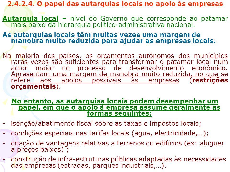 2.4.2.4. O papel das autarquias locais no apoio às empresas Autarquia local – nível do Governo que corresponde ao patamar mais baixo da hierarquia pol