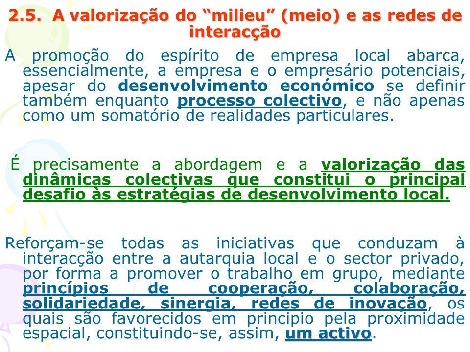2.5. A valorização do milieu (meio) e as redes de interacção A promoção do espírito de empresa local abarca, essencialmente, a empresa e o empresário