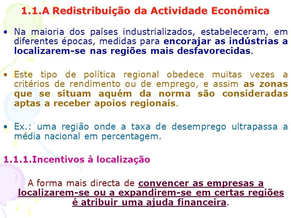 1.1.A Redistribuição da Actividade Económica Na maioria dos países industrializados, estabeleceram, em diferentes épocas, medidas para encorajar as in