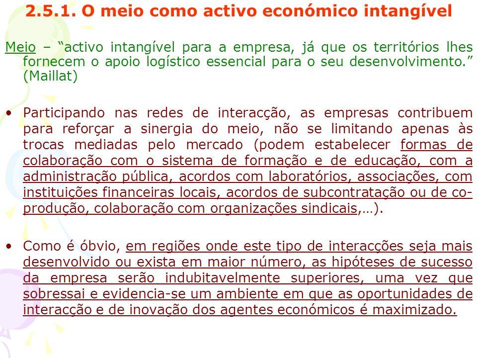 2.5.1. O meio como activo económico intangível Meio – activo intangível para a empresa, já que os territórios lhes fornecem o apoio logístico essencia