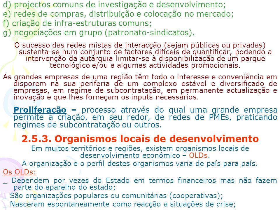 d) projectos comuns de investigação e desenvolvimento; e) redes de compras, distribuição e colocação no mercado; f) criação de infra-estruturas comuns
