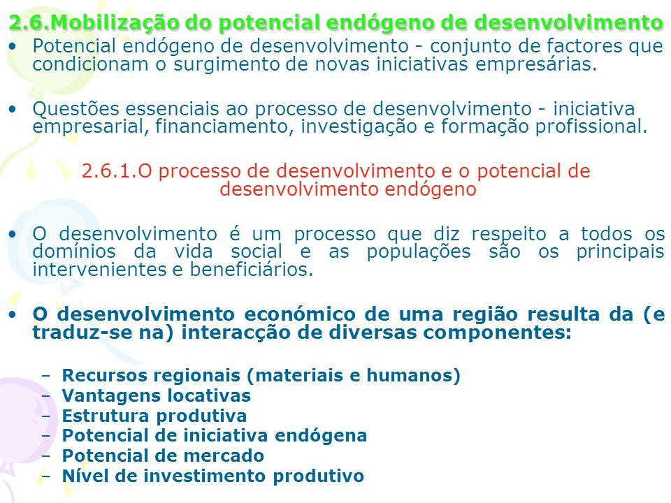 2.6.Mobilização do potencial endógeno de desenvolvimento Potencial endógeno de desenvolvimento - conjunto de factores que condicionam o surgimento de