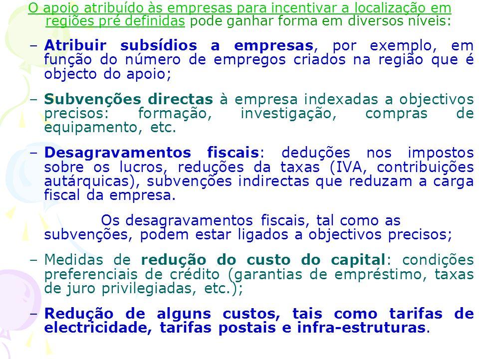 O apoio atribuído às empresas para incentivar a localização em regiões pré definidas pode ganhar forma em diversos níveis: –Atribuir subsídios a empre