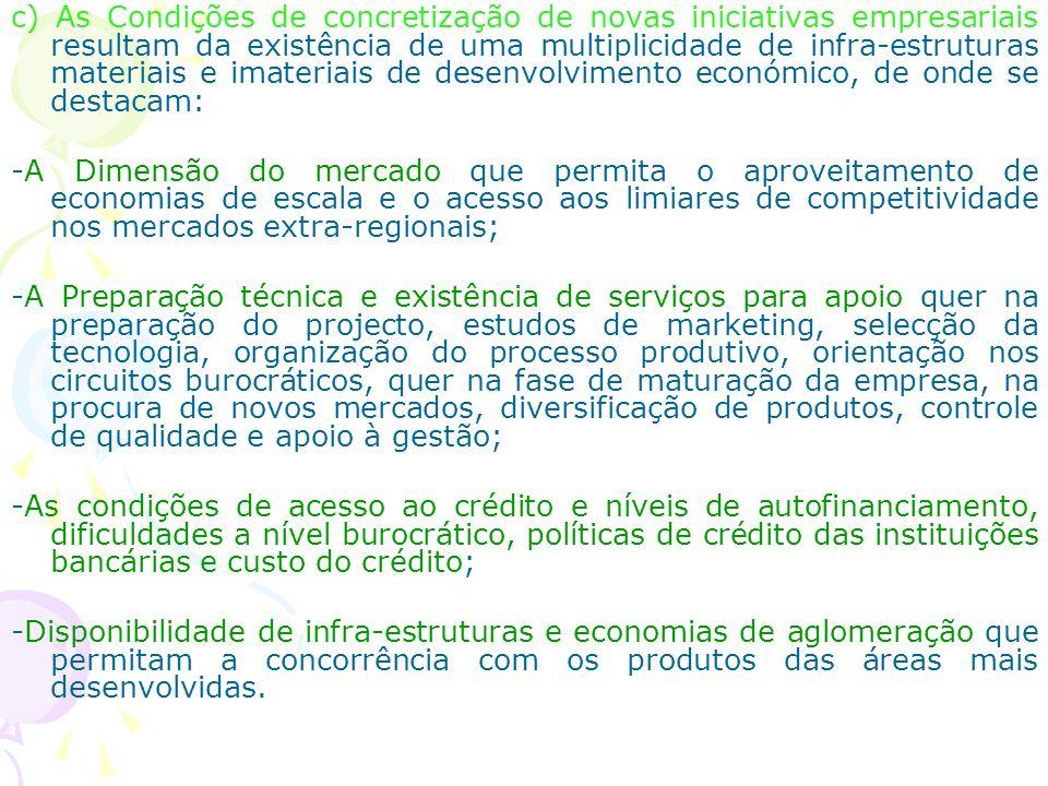 c) As Condições de concretização de novas iniciativas empresariais resultam da existência de uma multiplicidade de infra-estruturas materiais e imater