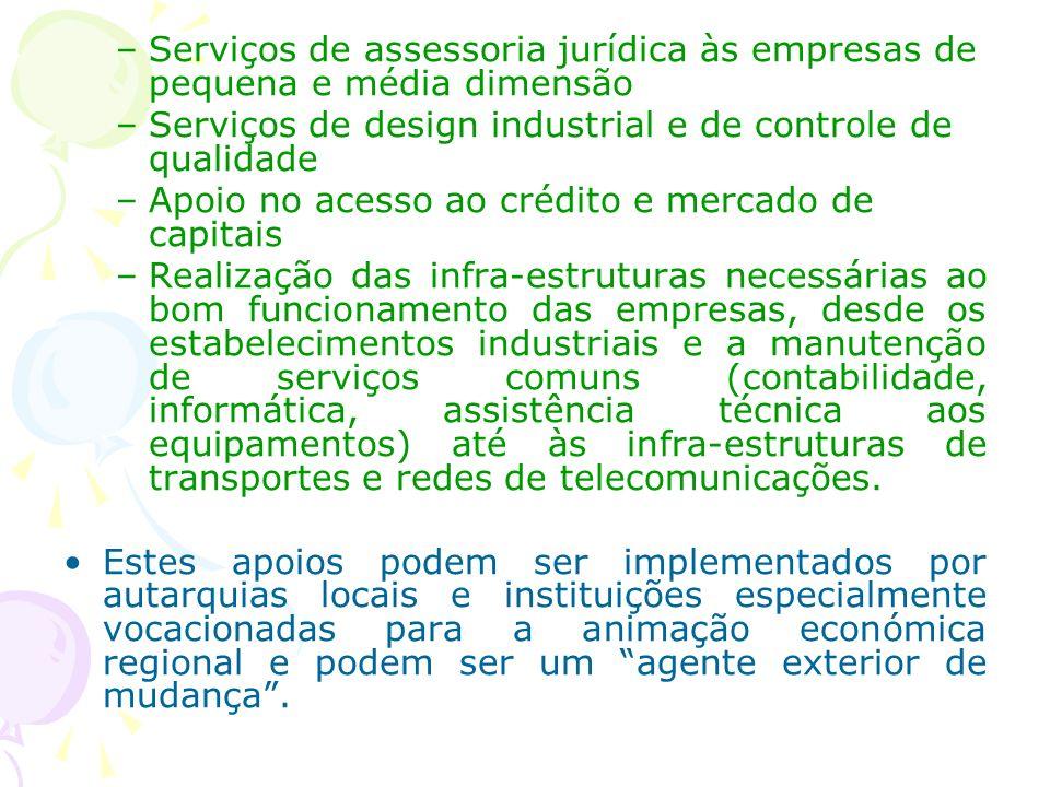–Serviços de assessoria jurídica às empresas de pequena e média dimensão –Serviços de design industrial e de controle de qualidade –Apoio no acesso ao