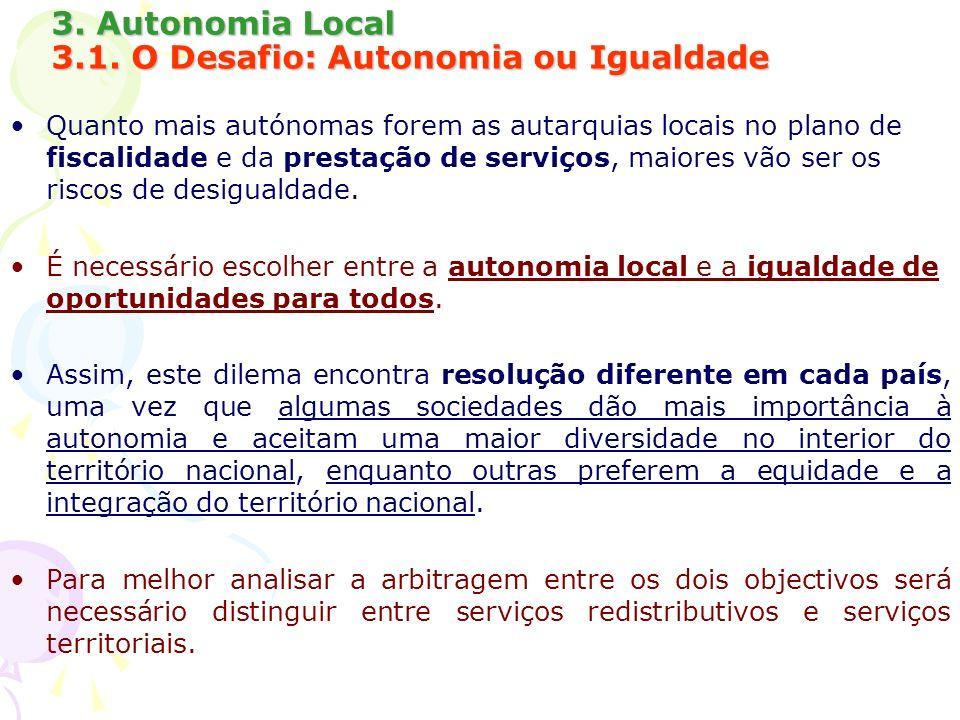 3. Autonomia Local 3.1. O Desafio: Autonomia ou Igualdade Quanto mais autónomas forem as autarquias locais no plano de fiscalidade e da prestação de s
