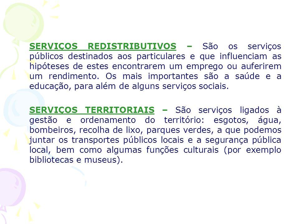 SERVIÇOS REDISTRIBUTIVOS – São os serviços públicos destinados aos particulares e que influenciam as hipóteses de estes encontrarem um emprego ou aufe
