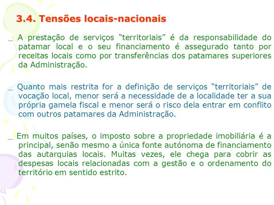 3.4. Tensões locais-nacionais _ A prestação de serviços territoriais é da responsabilidade do patamar local e o seu financiamento é assegurado tanto p