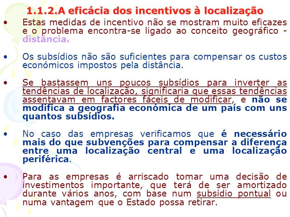 1.1.2.A eficácia dos incentivos à localização Estas medidas de incentivo não se mostram muito eficazes e o problema encontra-se ligado ao conceito geo