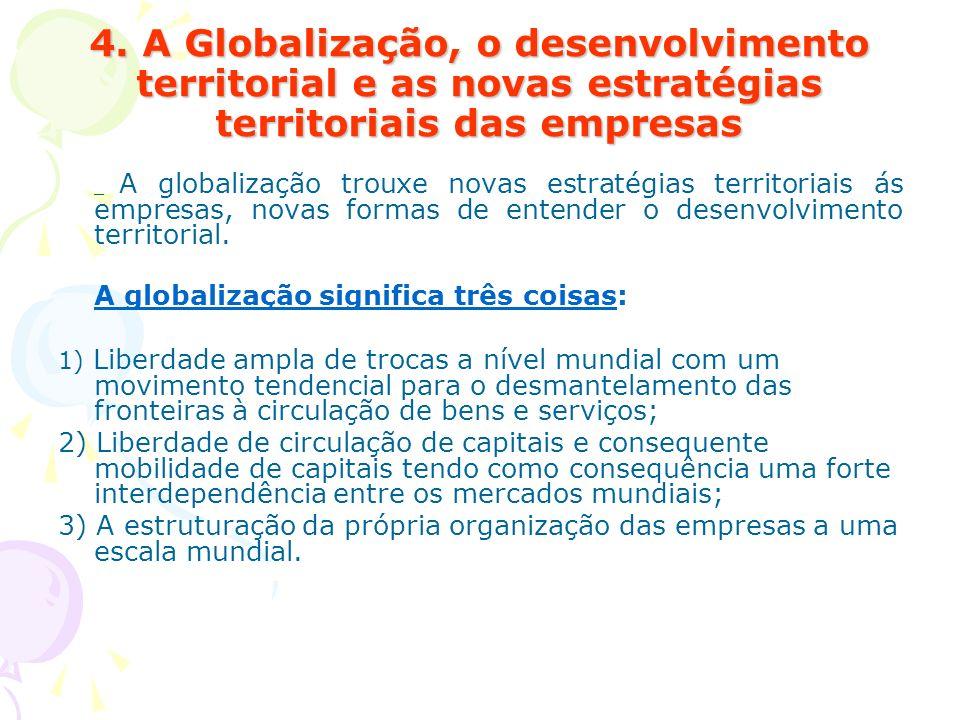 4. A Globalização, o desenvolvimento territorial e as novas estratégias territoriais das empresas _ A globalização trouxe novas estratégias territoria