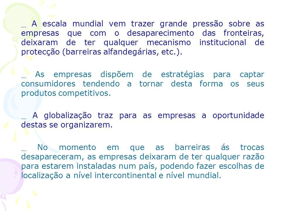 _ A escala mundial vem trazer grande pressão sobre as empresas que com o desaparecimento das fronteiras, deixaram de ter qualquer mecanismo institucio