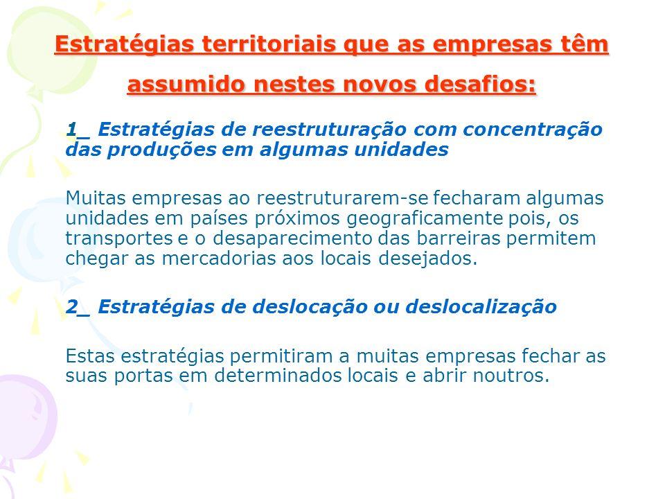 Estratégias territoriais que as empresas têm assumido nestes novos desafios: 1_ Estratégias de reestruturação com concentração das produções em alguma
