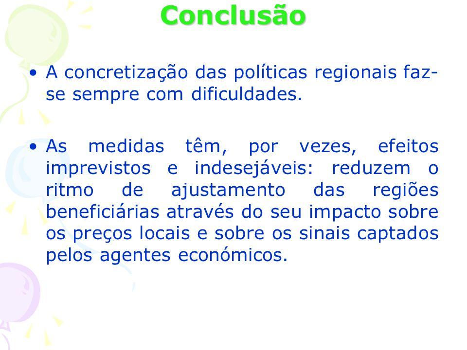 Conclusão A concretização das políticas regionais faz- se sempre com dificuldades. As medidas têm, por vezes, efeitos imprevistos e indesejáveis: redu