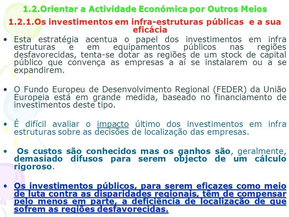 1.2.Orientar a Actividade Económica por Outros Meios 1.2.1.Os investimentos em infra-estruturas públicas e a sua eficácia Esta estratégia acentua o pa