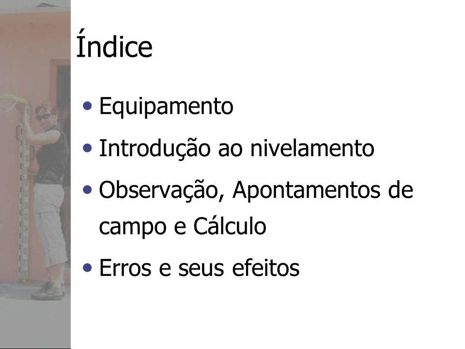 Exemplo: Erro de fecho: +1 mm Comprimento do circuito: 0.4 km Erro admissível 2.5 (0.4) = ±1.6 mm O Erro de fecho +1 mm está dentro do limite Erro médio para NB1 = 2.5/2* (0.4)