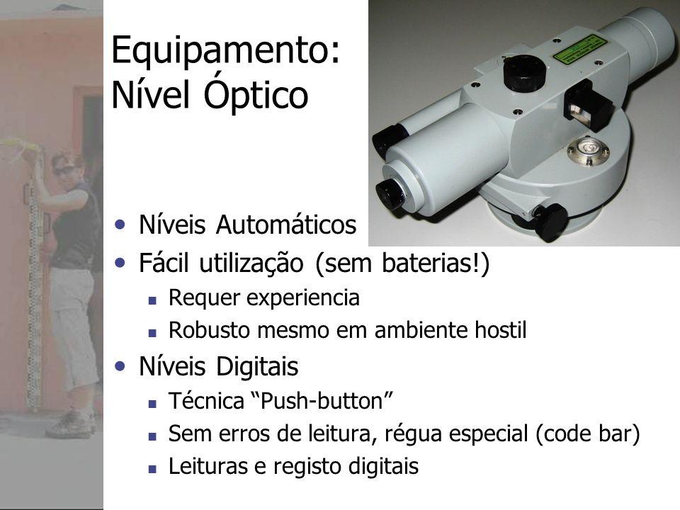 Equipamento Nível Óptico (Instrumento) Tripé Régua/Bastão Sapata de régua Nivela da Régua/Bastão (olho de boi) Marcas