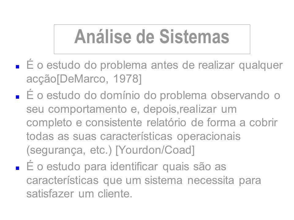 Análise de Sistemas n É o estudo do problema antes de realizar qualquer acção[DeMarco, 1978] n É o estudo do domínio do problema observando o seu comp