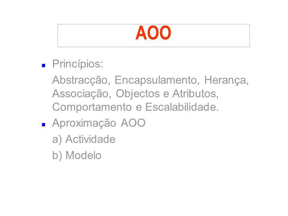 AOO n Princípios: Abstracção, Encapsulamento, Herança, Associação, Objectos e Atributos, Comportamento e Escalabilidade. n Aproximação AOO a) Activida