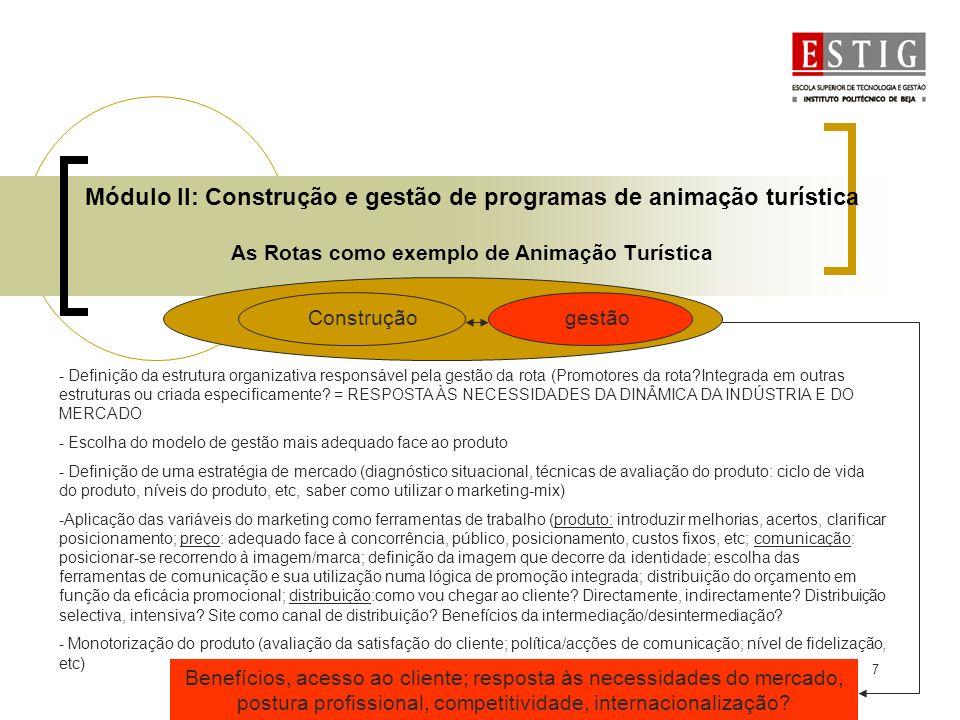 7 Módulo II: Construção e gestão de programas de animação turística As Rotas como exemplo de Animação Turística Construçãogestão - Definição da estrut