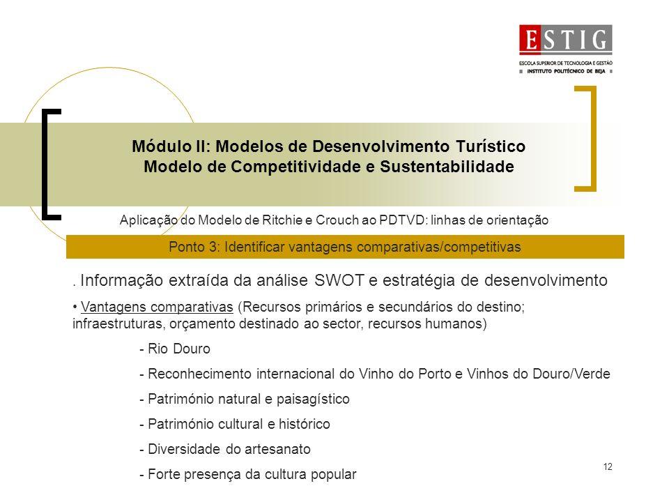 12 Módulo II: Modelos de Desenvolvimento Turístico Modelo de Competitividade e Sustentabilidade Aplicação do Modelo de Ritchie e Crouch ao PDTVD: linh