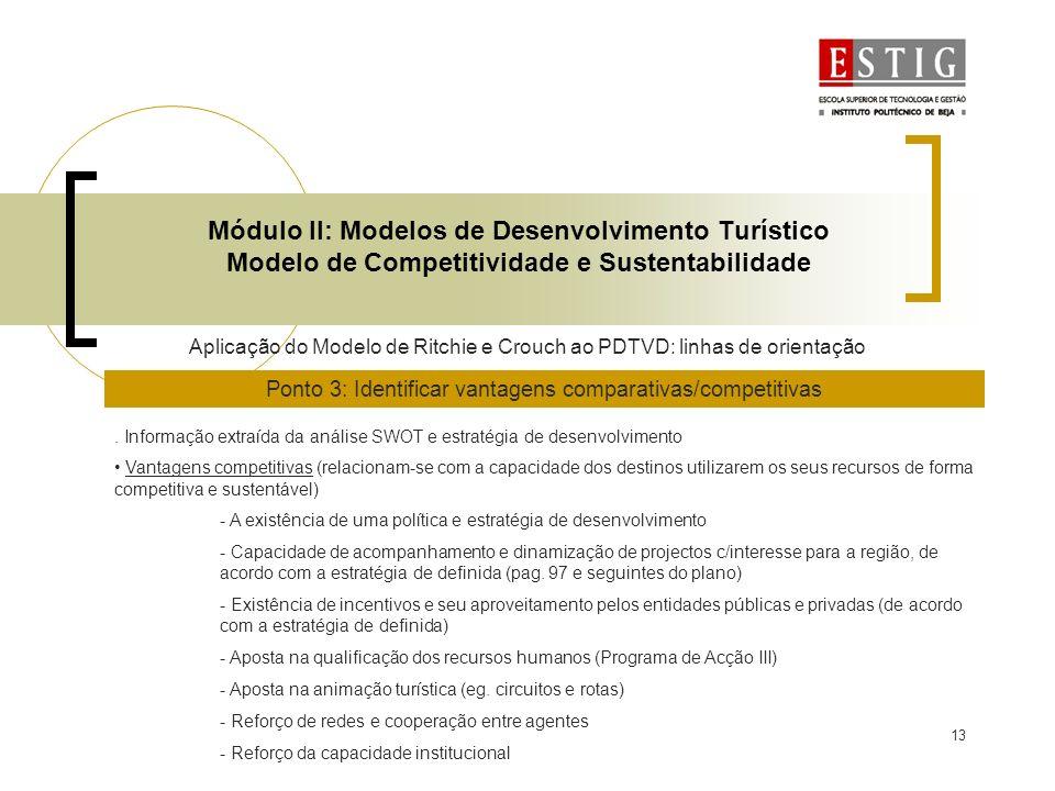 13 Módulo II: Modelos de Desenvolvimento Turístico Modelo de Competitividade e Sustentabilidade Aplicação do Modelo de Ritchie e Crouch ao PDTVD: linh