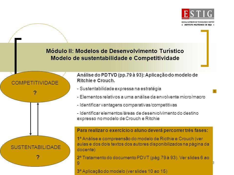 4 Módulo II: Modelos de Desenvolvimento Turístico Modelo de Competitividade e Sustentabilidade Modelo de Competitividade e Sustentabilidade de Destinos dos autores Ritchie e Crouch Exercício proposto Verificação dos elementos do modelo no PDTVD (extracção de informação pp:79-93)