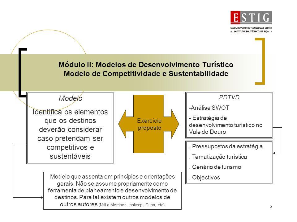6 Módulo II: Modelos de Desenvolvimento Turístico Modelo de Competitividade e Sustentabilidade Tópico 1: Análise SWOT - Análise da envolvente interna (micro) e externa (macro) -Informação sobre elementos do destino - Vantangens comparativas/competitivas Tópico 2: Pressupostos da estratégia (condicionam e motivam opções estratégicas de fundo) -Vontade política - Facilitação das condições de investimento - Sustentabilidade como pano de fundo - Introdução na dinâmica do sistema - Crescimento, organização e qualificação da oferta - Organizar a oferta em função de motivações diferenciadas - Aumento do interesse por esta região - Fomas que permitam a execução do plano