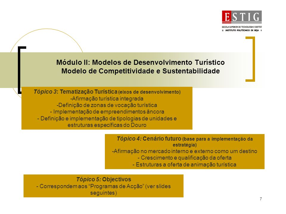 7 Módulo II: Modelos de Desenvolvimento Turístico Modelo de Competitividade e Sustentabilidade Tópico 3: Tematização Turística (eixos de desenvolvimen