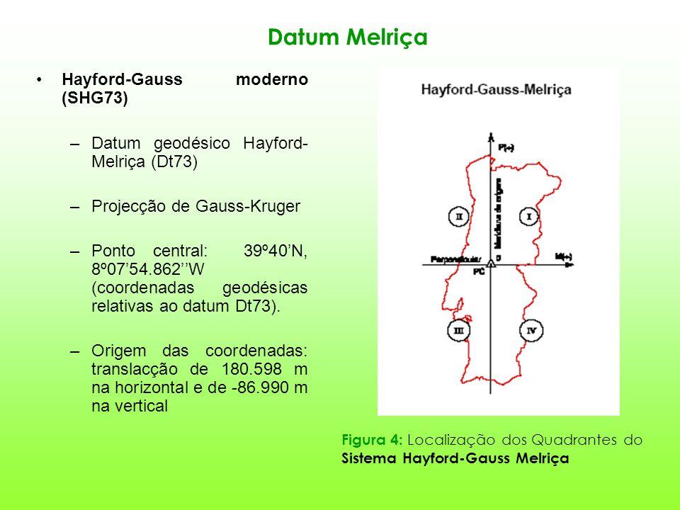 Datum Melriça Hayford-Gauss moderno (SHG73) –Datum geodésico Hayford- Melriça (Dt73) –Projecção de Gauss-Kruger –Ponto central: 39º40N, 8º0754.862W (coordenadas geodésicas relativas ao datum Dt73).