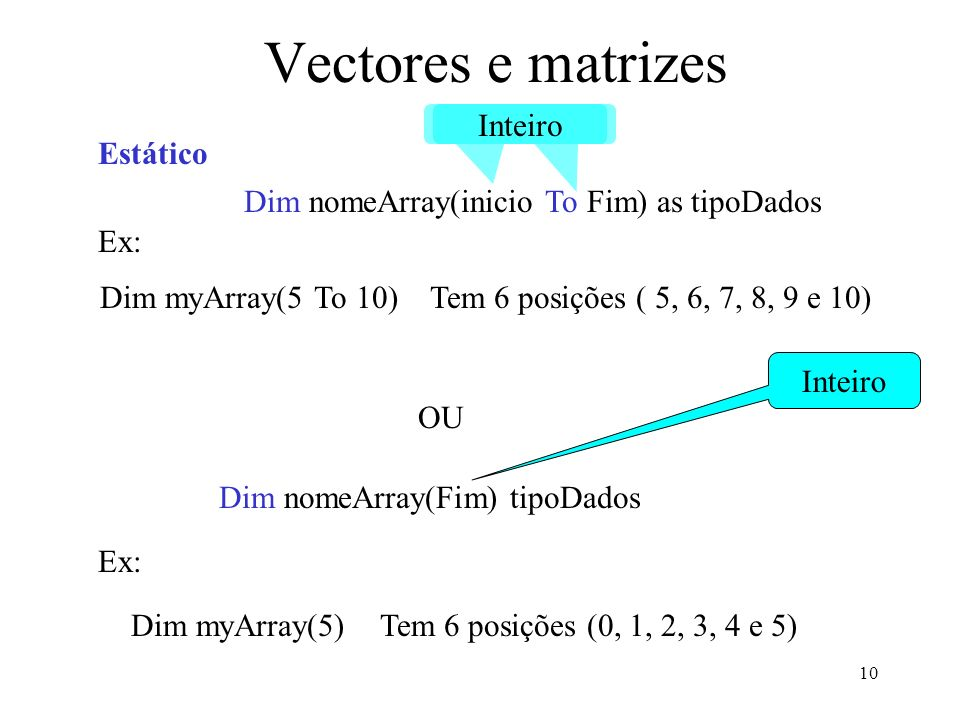 10 Vectores e matrizes Dim nomeArray(inicio To Fim) as tipoDados Inteiro OU Dim nomeArray(Fim) tipoDados Inteiro Estático Ex: Dim myArray(5 To 10) Tem 6 posições ( 5, 6, 7, 8, 9 e 10) Ex: Dim myArray(5) Tem 6 posições (0, 1, 2, 3, 4 e 5)