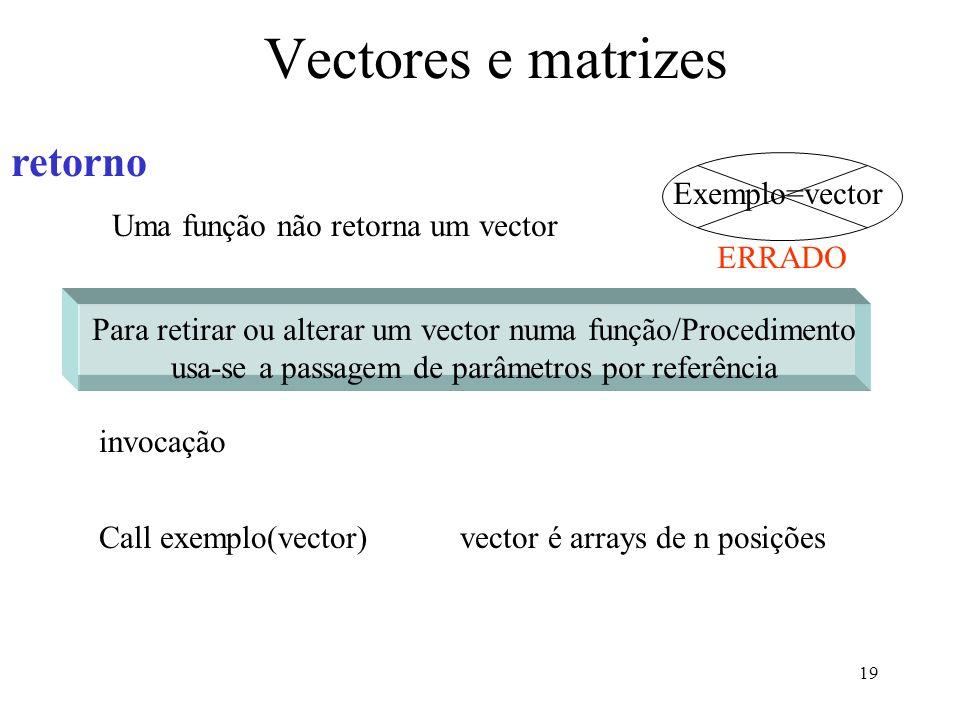 19 Vectores e matrizes invocação Call exemplo(vector)vector é arrays de n posições retorno Uma função não retorna um vector Exemplo=vector ERRADO Para retirar ou alterar um vector numa função/Procedimento usa-se a passagem de parâmetros por referência