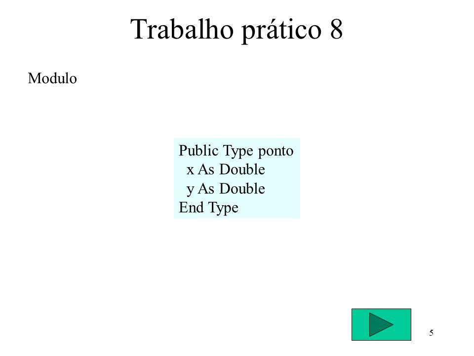 5 Trabalho prático 8 Modulo Public Type ponto x As Double y As Double End Type