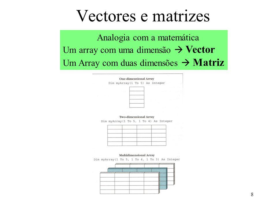 8 Vectores e matrizes Analogia com a matemática Um array com uma dimensão Vector Um Array com duas dimensões Matriz