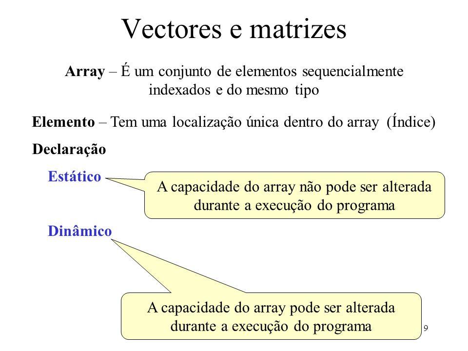9 Vectores e matrizes Array – É um conjunto de elementos sequencialmente indexados e do mesmo tipo Elemento – Tem uma localização única dentro do array (Índice) Declaração Estático Dinâmico A capacidade do array pode ser alterada durante a execução do programa A capacidade do array não pode ser alterada durante a execução do programa