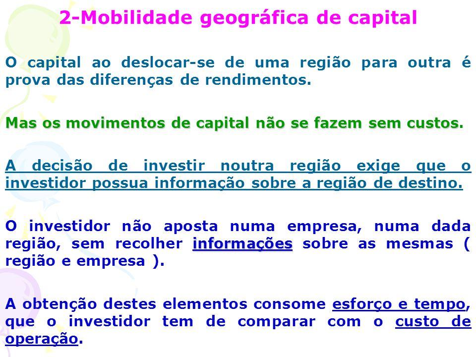 2-Mobilidade geográfica de capital O capital ao deslocar-se de uma região para outra é prova das diferenças de rendimentos.