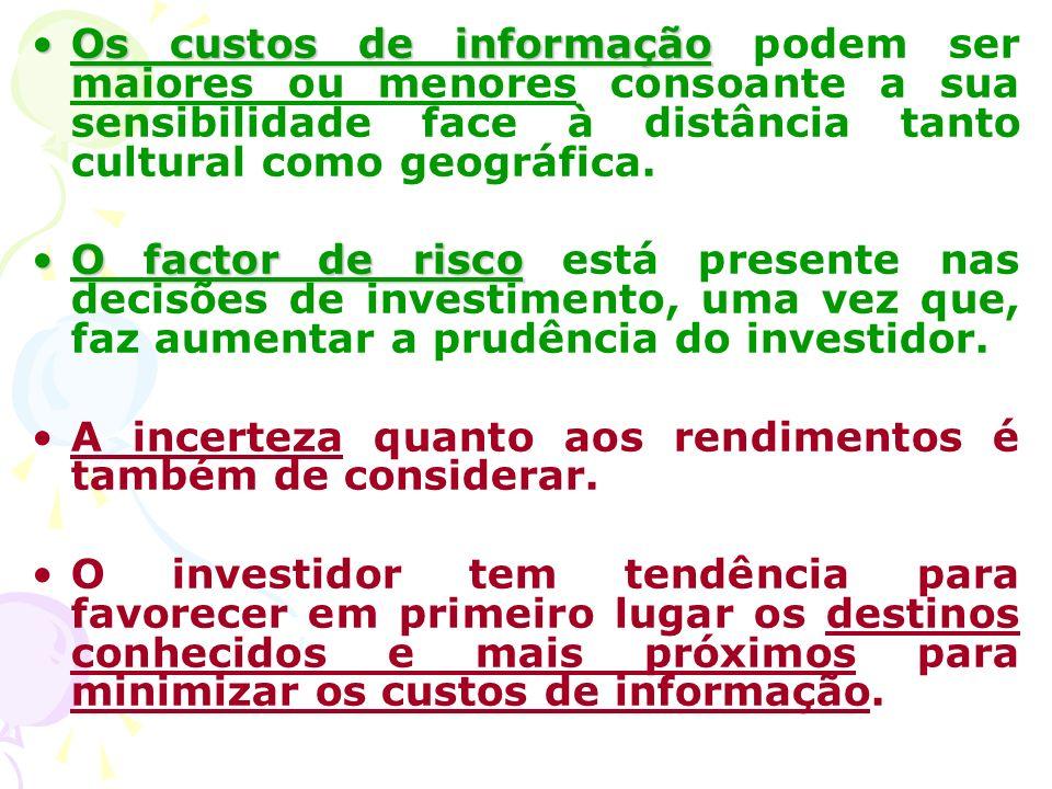 Os custos de informaçãoOs custos de informação podem ser maiores ou menores consoante a sua sensibilidade face à distância tanto cultural como geográfica.