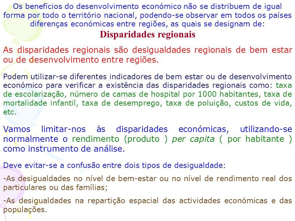 Os benefícios do desenvolvimento económico não se distribuem de igual forma por todo o território nacional, podendo-se observar em todos os países diferenças económicas entre regiões, as quais se designam de: Disparidades regionais As disparidades regionais são desigualdades regionais de bem estar ou de desenvolvimento entre regiões.