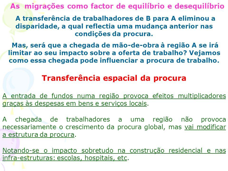 As migrações como factor de equilíbrio e desequilíbrio A transferência de trabalhadores de B para A eliminou a disparidade, a qual reflectia uma mudança anterior nas condições da procura.