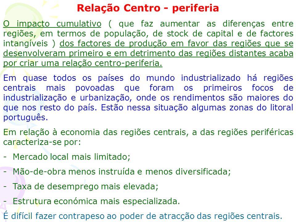 Relação Centro - periferia O impacto cumulativo ( que faz aumentar as diferenças entre regiões, em termos de população, de stock de capital e de factores intangíveis ) dos factores de produção em favor das regiões que se desenvolveram primeiro e em detrimento das regiões distantes acaba por criar uma relação centro-periferia.
