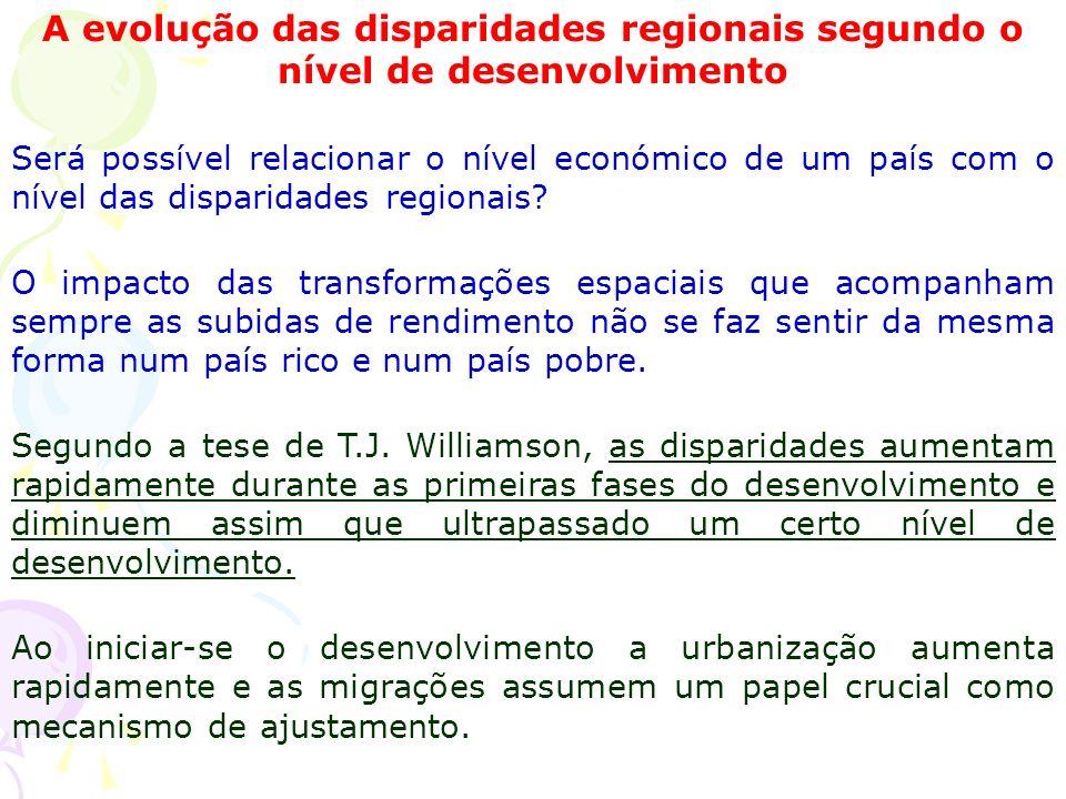 A evolução das disparidades regionais segundo o nível de desenvolvimento Será possível relacionar o nível económico de um país com o nível das disparidades regionais.