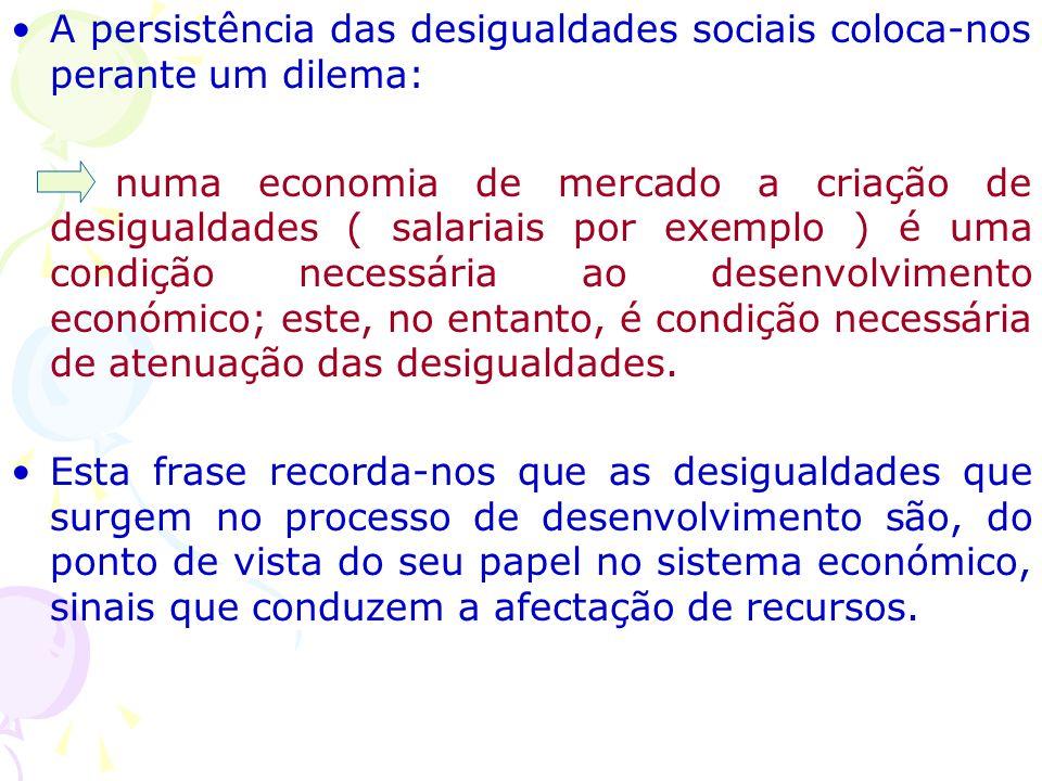 A persistência das desigualdades sociais coloca-nos perante um dilema: numa economia de mercado a criação de desigualdades ( salariais por exemplo ) é uma condição necessária ao desenvolvimento económico; este, no entanto, é condição necessária de atenuação das desigualdades.