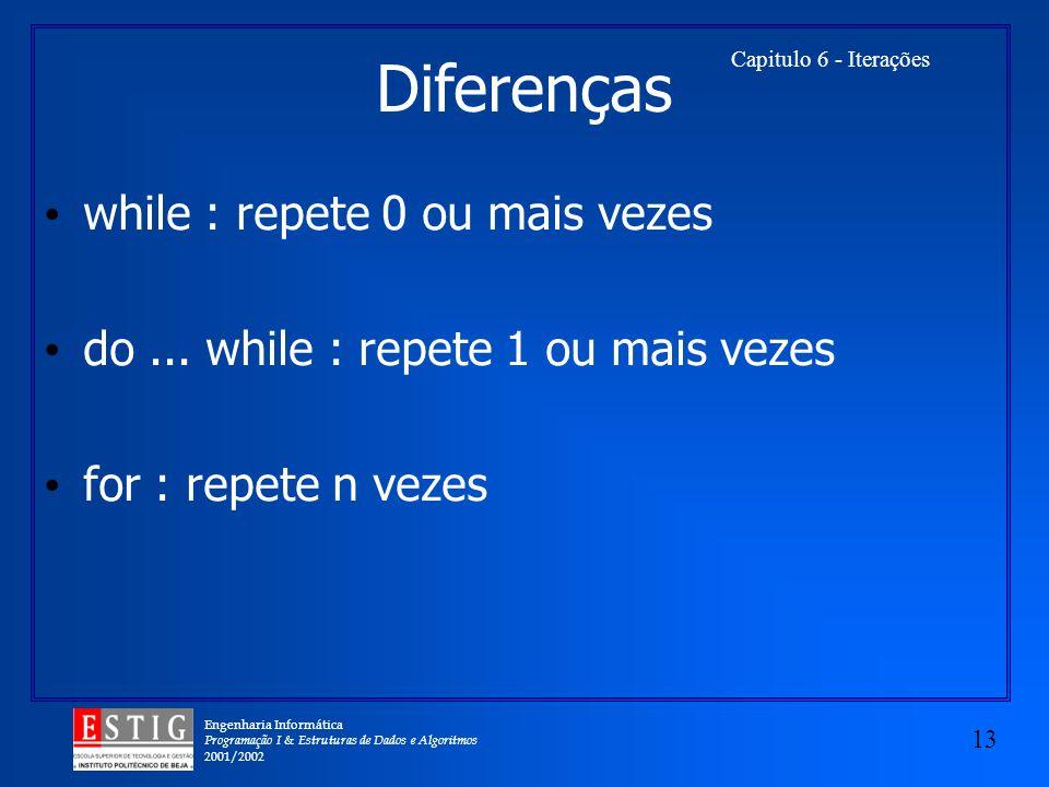 Engenharia Informática Programação I & Estruturas de Dados e Algoritmos 2001/2002 13 Capitulo 6 - Iterações Diferenças while : repete 0 ou mais vezes