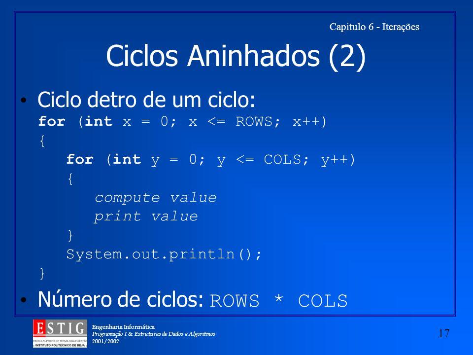 Engenharia Informática Programação I & Estruturas de Dados e Algoritmos 2001/2002 17 Capitulo 6 - Iterações Ciclos Aninhados (2) Ciclo detro de um cic