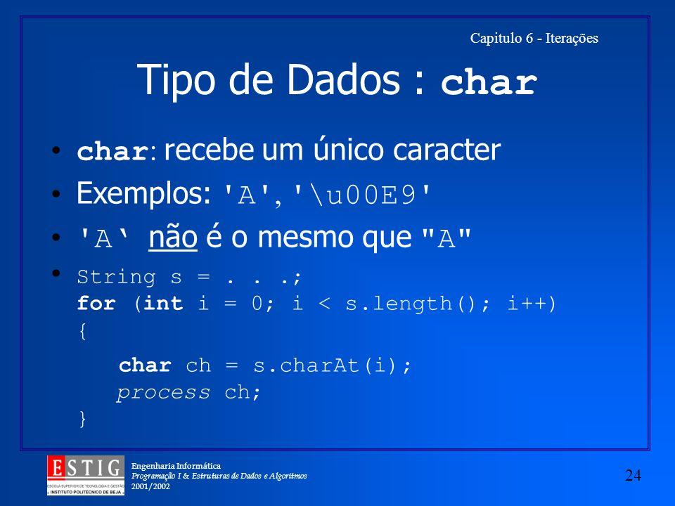 Engenharia Informática Programação I & Estruturas de Dados e Algoritmos 2001/2002 24 Capitulo 6 - Iterações Tipo de Dados : char char : recebe um únic