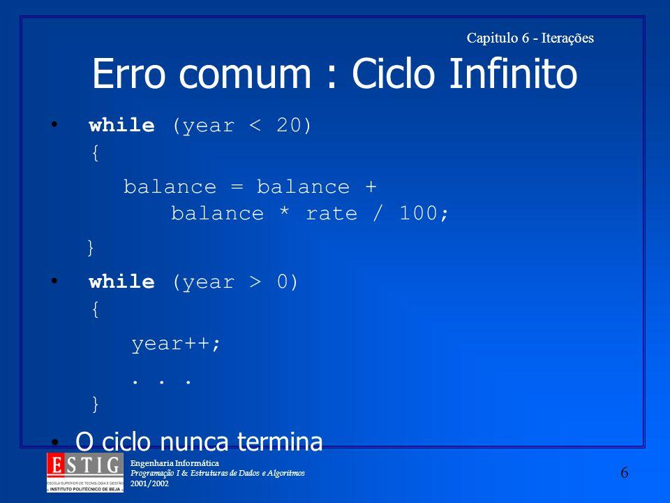Engenharia Informática Programação I & Estruturas de Dados e Algoritmos 2001/2002 6 Capitulo 6 - Iterações Erro comum : Ciclo Infinito while (year < 2