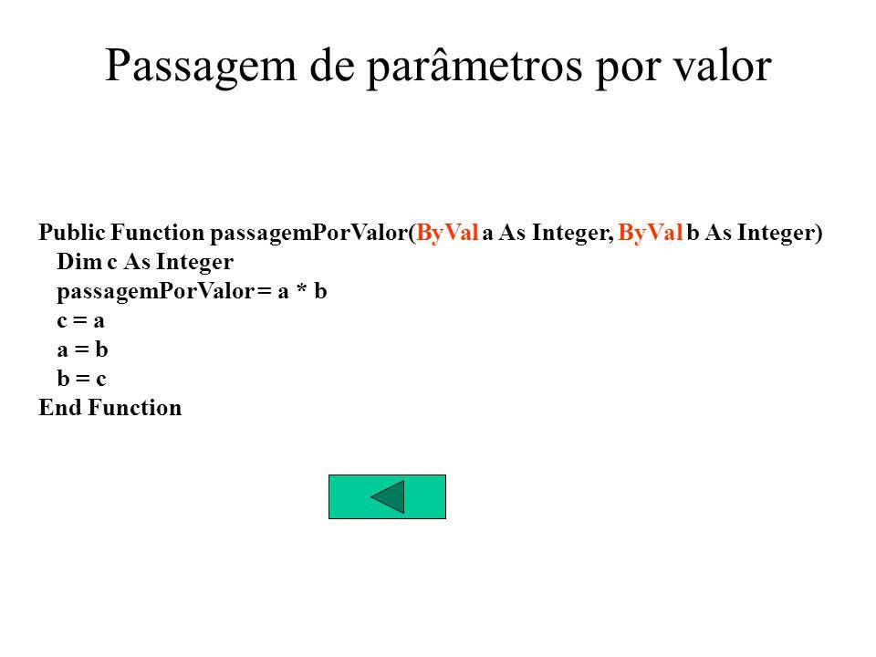 Passagem de parâmetros por Referência Private Sub cmdRef_Click() Dim num1 As Integer, num2 As Integer, num3 As Integer num1 = Val(txtInOut1.Text) num2 = Val(txtInOut2.Text) num3 = passagemPorReferencia(num1, num2) txtInOut1.Text = num1 txtInOut2.Text = num2 txtOut.Text = num3 End Sub