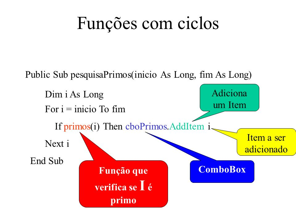 Funções com ciclos Public Sub pesquisaPrimos(inicio As Long, fim As Long) Dim i As Long For i = inicio To fim If primos(i) Then cboPrimos.AddItem i Ne