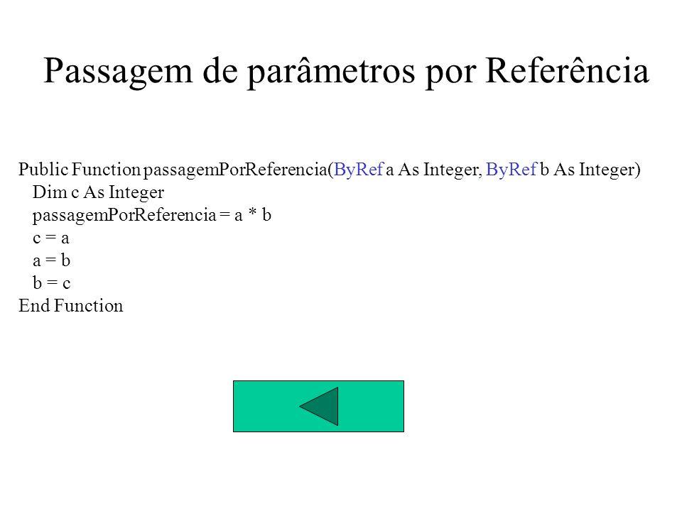 Passagem de parâmetros Conclusão Quando se usa passagem de parâmetros por referência as alterações feitas nos parâmetros repercutem-se no exterior da função ou procedimento O VB Usa por defeito a passagem de parâmetros por referência