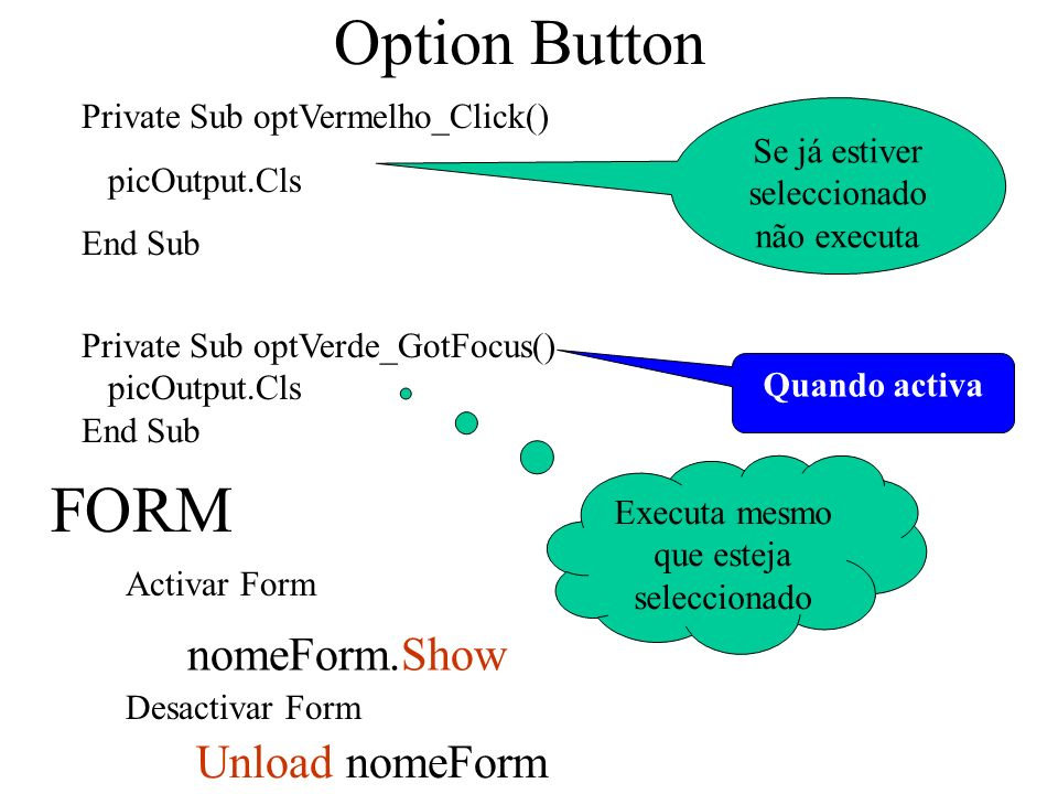 Option Button Private Sub optVermelho_Click() picOutput.Cls End Sub FORM Desactivar Form Activar Form nomeForm.Show Unload nomeForm Private Sub optVerde_GotFocus() picOutput.Cls End Sub Se já estiver seleccionado não executa Quando activa Executa mesmo que esteja seleccionado